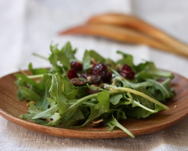 Versatile Everyday Salad Dressing Served Over an Arugula Salad