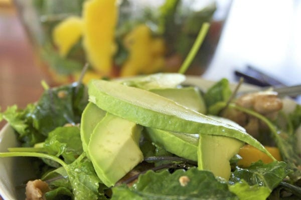 Closeup of an arugula salad with mango and avocado