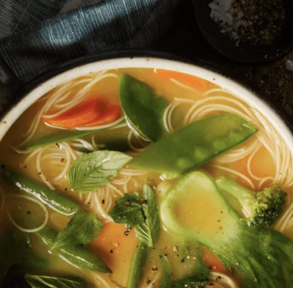 Bowl of Thai Vegetable Noodle Soup